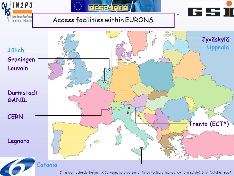 Christoph Scheidenberger, X Convegno su problemi di fisica nucleare teorica, Cortona (Italy), 6.-9. October 2004 Access facilities within EURONS Louva