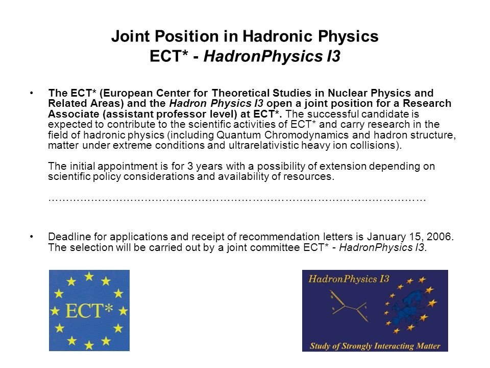 Joint Position in Hadronic Physics ECT* - HadronPhysics I3 The ECT* (European Center for Theoretical Studies in Nuclear Physics and Related Areas) and