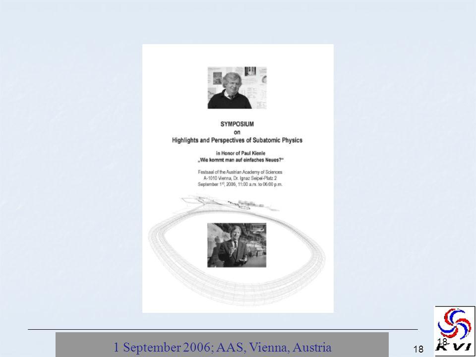 1 September 2006; AAS, Vienna, Austria18 18