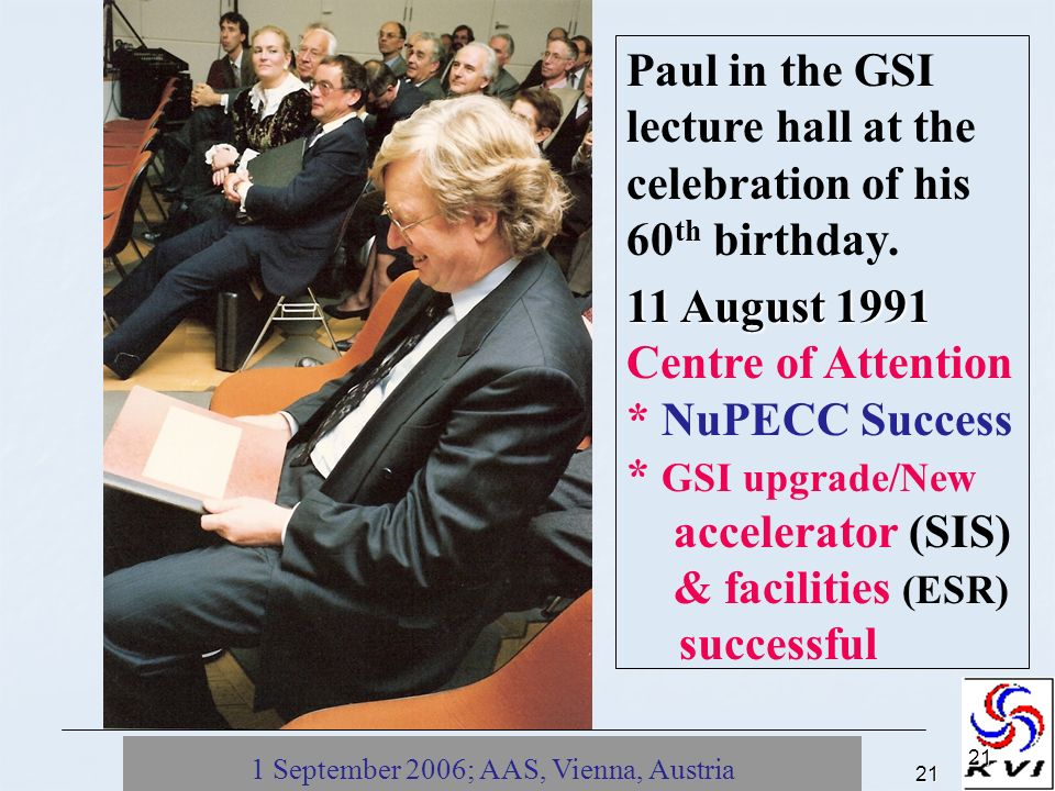 1 September 2006; AAS, Vienna, Austria21 21 Paul in the GSI lecture hall at the celebration of his 60 th birthday.