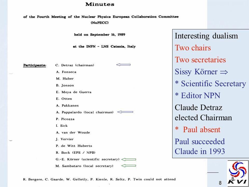 1 September 2006; AAS, Vienna, Austria8 8 Interesting dualism Two chairs Two secretaries Sissy Körner * Scientific Secretary * Editor NPN Claude Detra