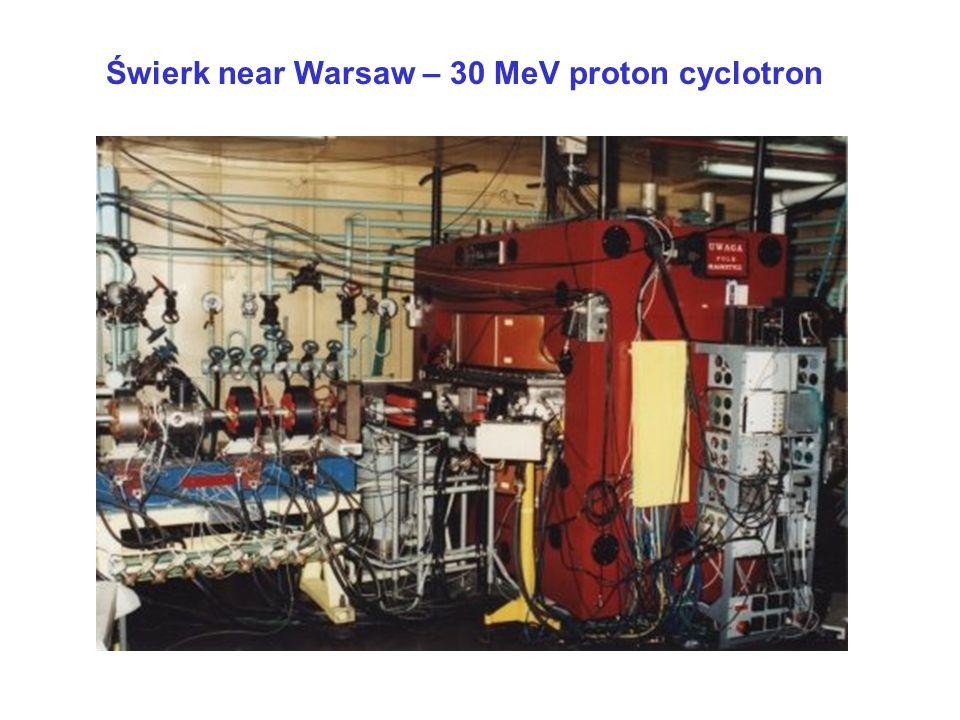 Świerk near Warsaw – 30 MeV proton cyclotron