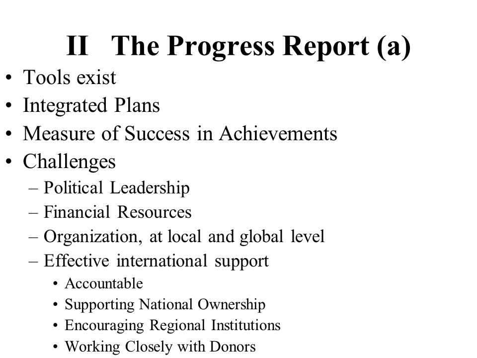 II The Progress Report (b) International standards available: strategic goals clear: way forward clearly established Importance of working together on implementation Leadership Role of National Authorities, World Bank and Regional Banks, with UN System –Financing Framework –Joint Appraisals –Monitoring
