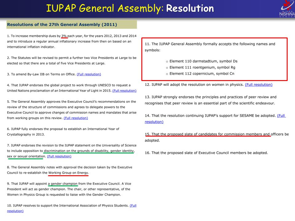 Resolution IUPAP General Assembly: Resolution