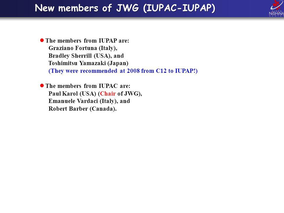 New members of JWG (IUPAC-IUPAP) The members from IUPAP are: Graziano Fortuna (Italy), Bradley Sherrill (USA), and Toshimitsu Yamazaki (Japan) (They were recommended at 2008 from C12 to IUPAP!) The members from IUPAC are: Paul Karol (USA) (Chair of JWG), Emanuele Vardaci (Italy), and Robert Barber (Canada).