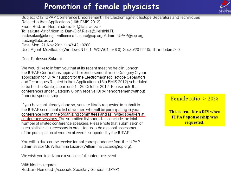 Promotion of female physicists Subject: C12 IUPAP Conference Endorsement: The Electromagnetic Isotope Separators and Techniques Related to their Appli