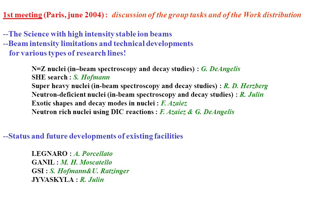 1st meeting (Paris, june 2004) : discussion of the group tasks and of the Work distribution --The Science with high intensity stable ion beams --Beam intensity limitations and technical developments for various types of research lines.