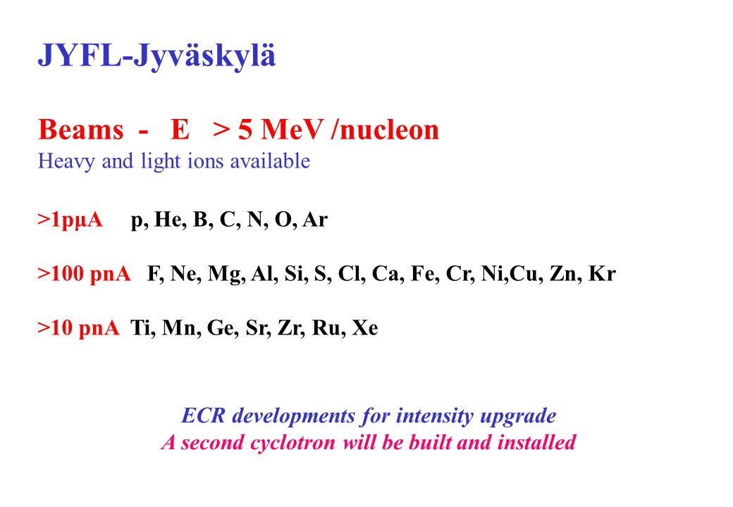 JYFL-Jyväskylä Beams - E > 5 MeV /nucleon Heavy and light ions available >1pμA p, He, B, C, N, O, Ar >100 pnA F, Ne, Mg, Al, Si, S, Cl, Ca, Fe, Cr, Ni,Cu, Zn, Kr >10 pnA Ti, Mn, Ge, Sr, Zr, Ru, Xe ECR developments for intensity upgrade A second cyclotron will be built and installed