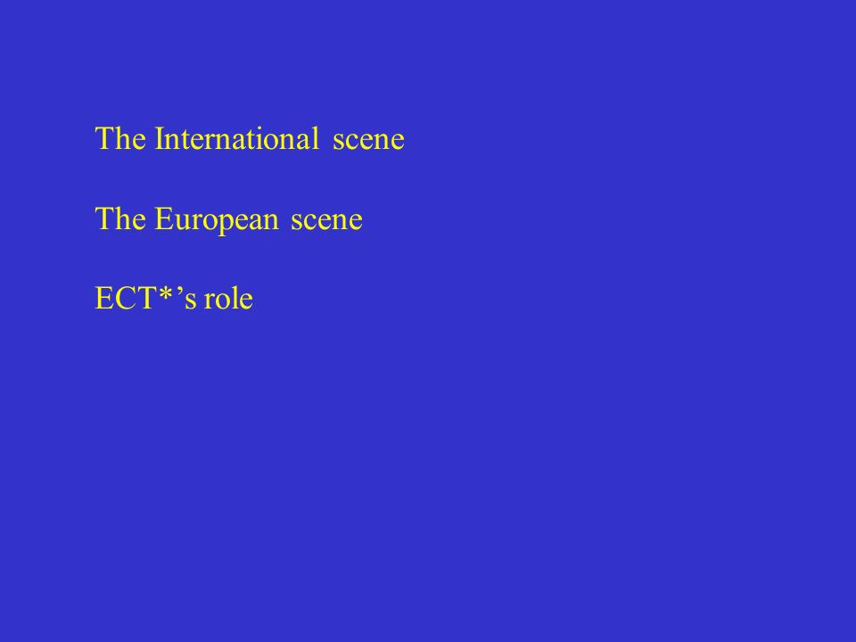 The International scene The European scene ECT*s role
