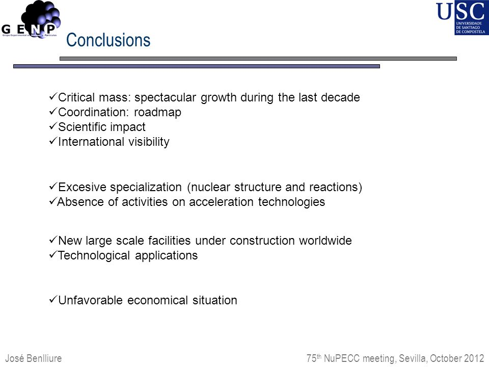 Conclusions José Benlliure Critical mass: spectacular growth during the last decade Coordination: roadmap Scientific impact International visibility 75 th NuPECC meeting, Sevilla, October 2012 Excesive specialization (nuclear structure and reactions) Absence of activities on acceleration technologies New large scale facilities under construction worldwide Technological applications Unfavorable economical situation