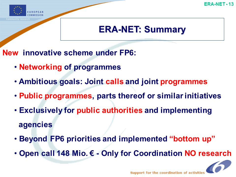 Support for the coordination of activities ERA-NET - 12 ERA-NET partnership: a key to success –role and commitment (impact) of each partner –clear added value for nat.