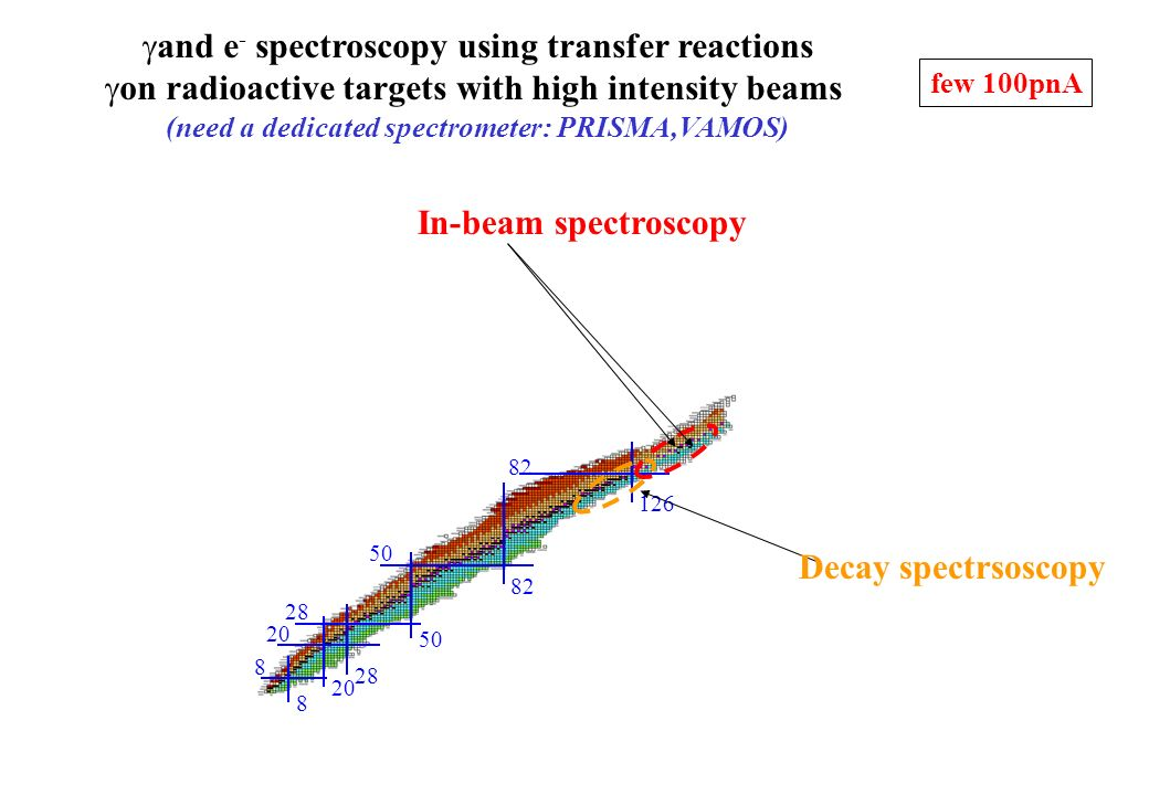 and e - spectroscopy using transfer reactions on radioactive targets with high intensity beams (need a dedicated spectrometer: PRISMA,VAMOS) 28 8 20 5