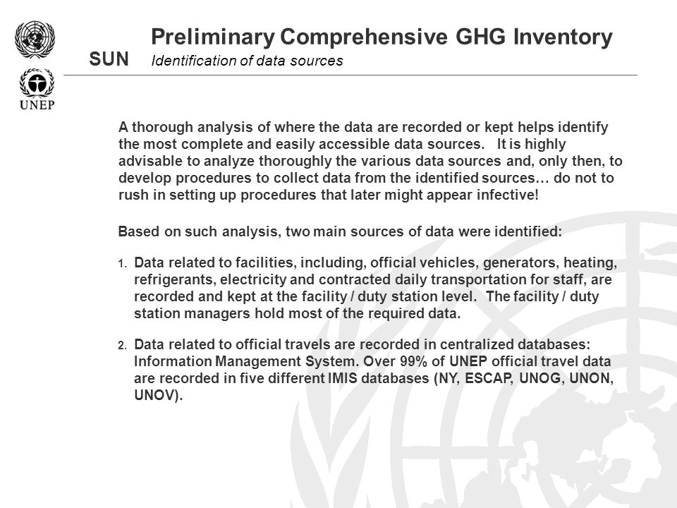 SUN Preliminary Comprehensive GHG Inventory Identification of data sources Based on such analysis, two main sources of data were identified: 1.