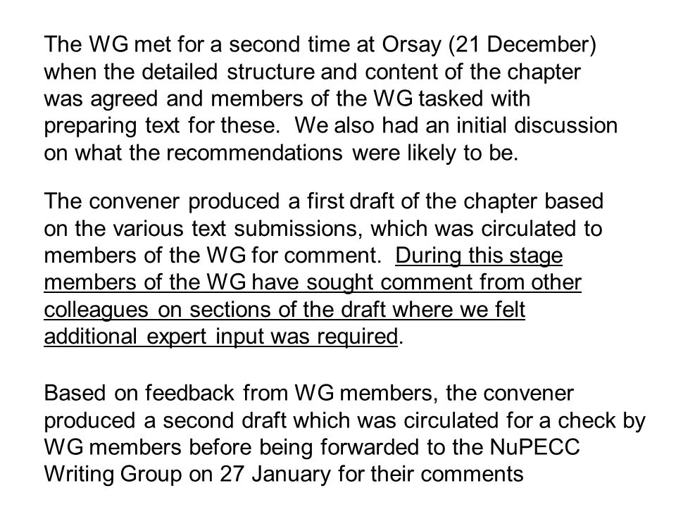 The convener produced a first draft of the chapter based on the various text submissions, which was circulated to members of the WG for comment. Durin