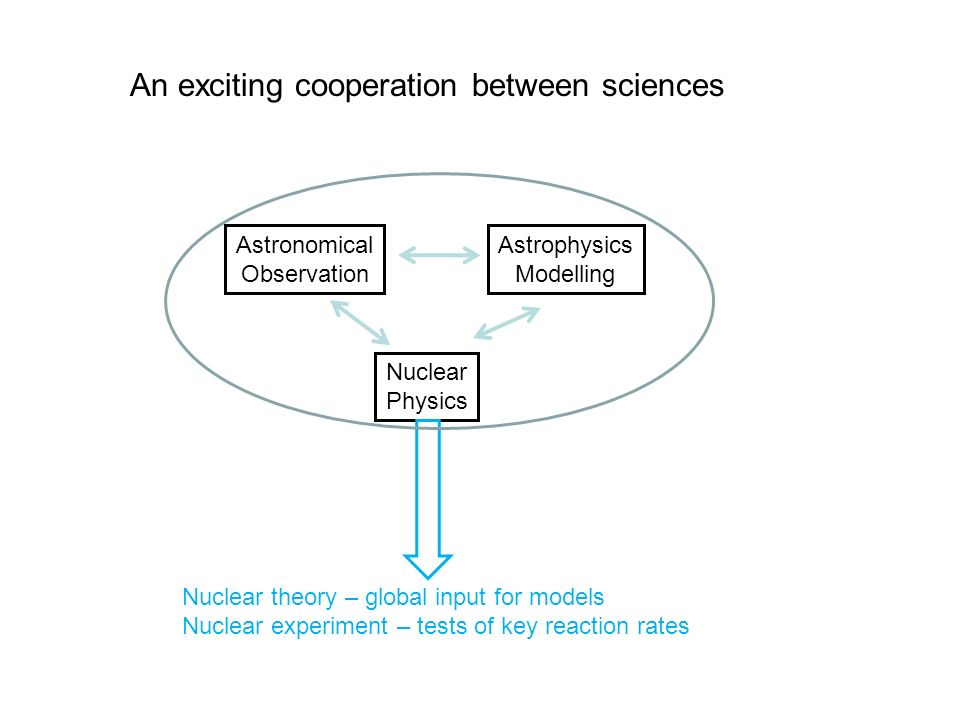 An exciting cooperation between sciences Astronomical Observation Astrophysics Modelling Nuclear Physics Nuclear theory – global input for models Nucl