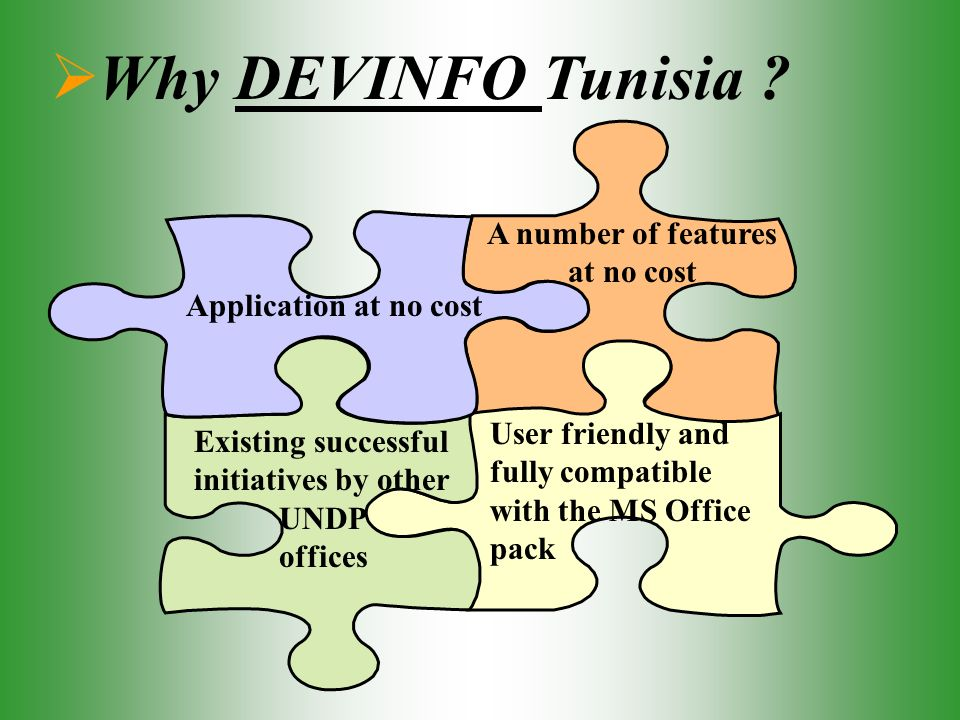 Why DEVINFO Tunisia ? Application at no cost A number of features at no cost Existing successful initiatives by other UNDP offices User friendly and f