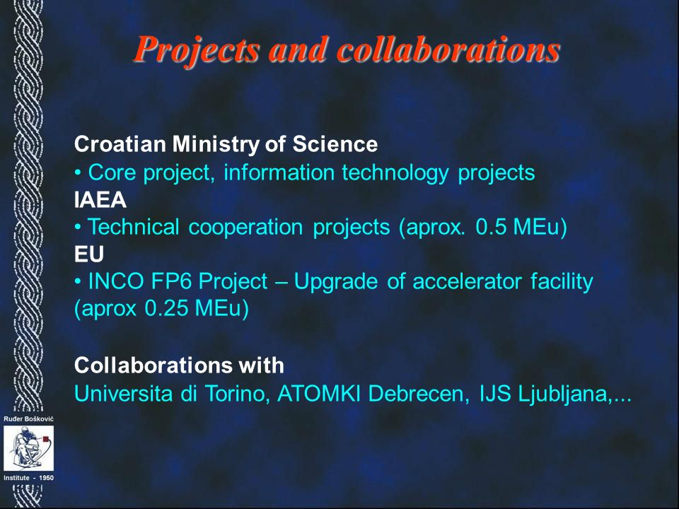 Croatian Ministry of Science Core project, information technology projects IAEA Technical cooperation projects (aprox.