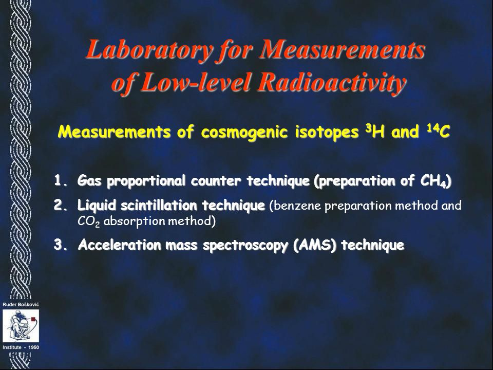 1.Gas proportional counter technique (preparation of CH 4 ) 2.Liquid scintillation technique 2.Liquid scintillation technique (benzene preparation method and CO 2 absorption method) 3.Acceleration mass spectroscopy (AMS) technique Laboratory for Measurements of Low-level Radioactivity Measurements of cosmogenic isotopes 3 H and 14 C