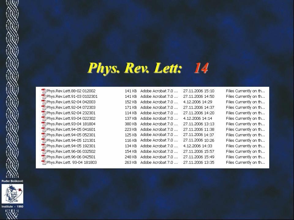 Phys. Rev. Lett: 14