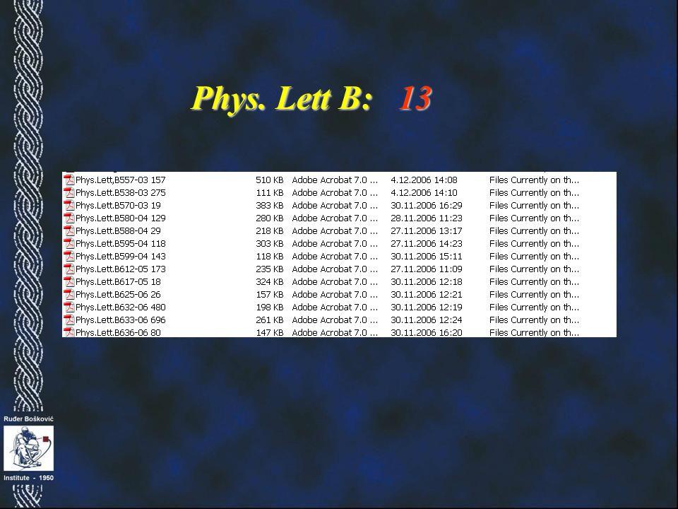 Phys. Lett B: 13