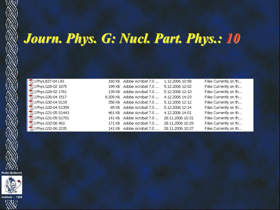 Journ. Phys. G: Nucl. Part. Phys.: 10