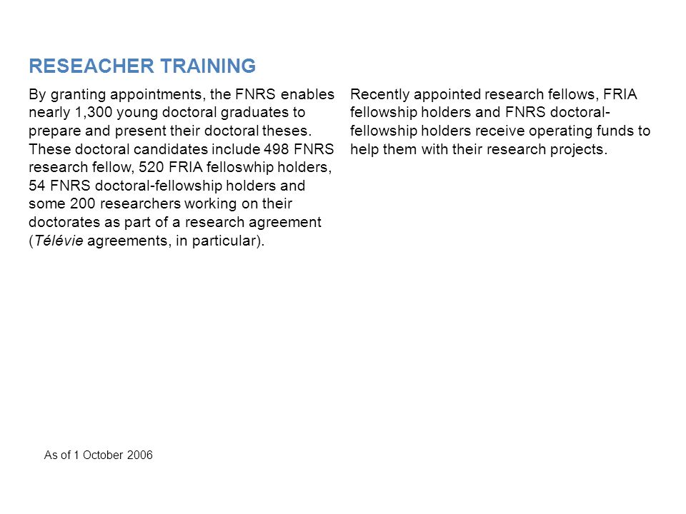 RESEACHER TRAINING By granting appointments, the FNRS enables nearly 1,300 young doctoral graduates to prepare and present their doctoral theses.