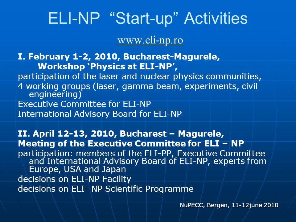 ELI-NP Start-up Activities www.eli-np.ro www.eli-np.ro I.