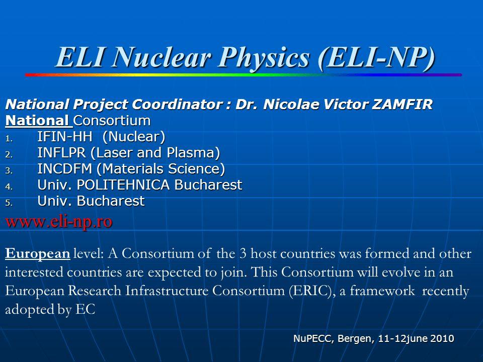 ELI Nuclear Physics (ELI-NP) National Project Coordinator : Dr.