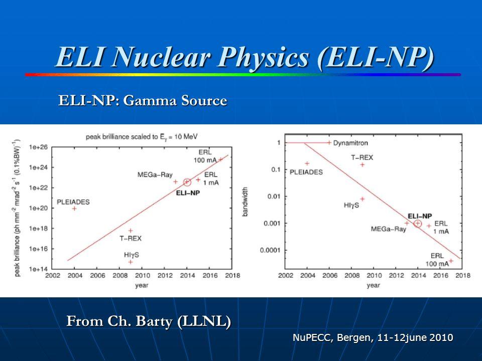 ELI Nuclear Physics (ELI-NP) NuPECC, Bergen, 11-12june 2010 ELI-NP: Gamma Source From Ch.