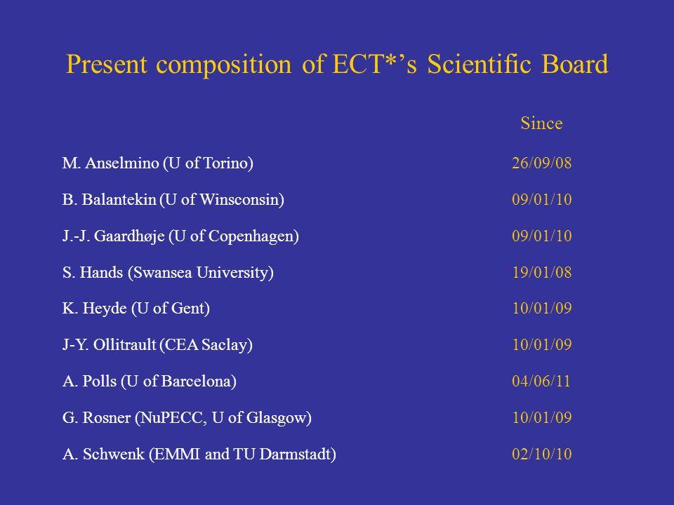 Present composition of ECT*s Scientific Board M. Anselmino (U of Torino)26/09/08 B. Balantekin (U of Winsconsin)09/01/10 J.-J. Gaardhøje (U of Copenha