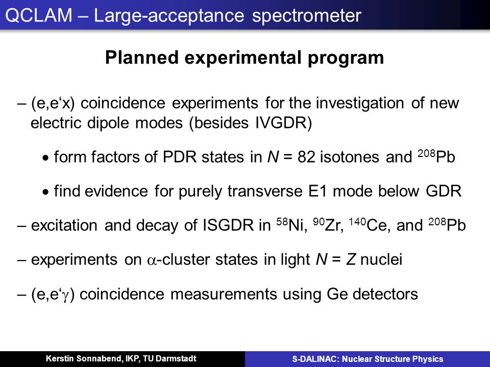 Kerstin Sonnabend, IKP, TU Darmstadt S-DALINAC: Nuclear Structure Physics QCLAM – Large-acceptance spectrometer Planned experimental program – (e,ex)