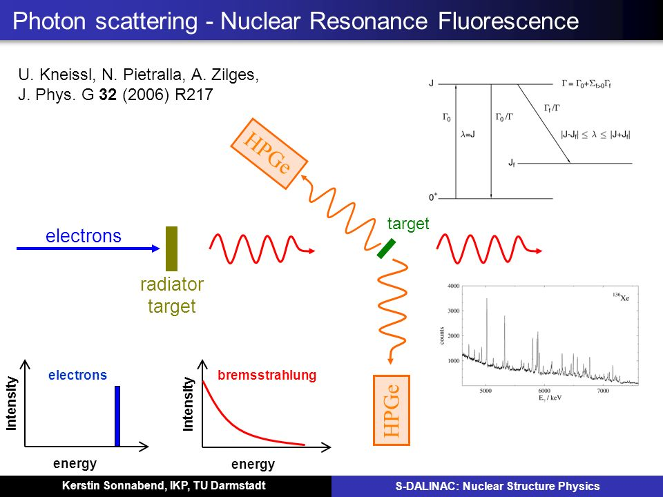Kerstin Sonnabend, IKP, TU Darmstadt S-DALINAC: Nuclear Structure Physics Photon scattering - Nuclear Resonance Fluorescence energy intensity electron