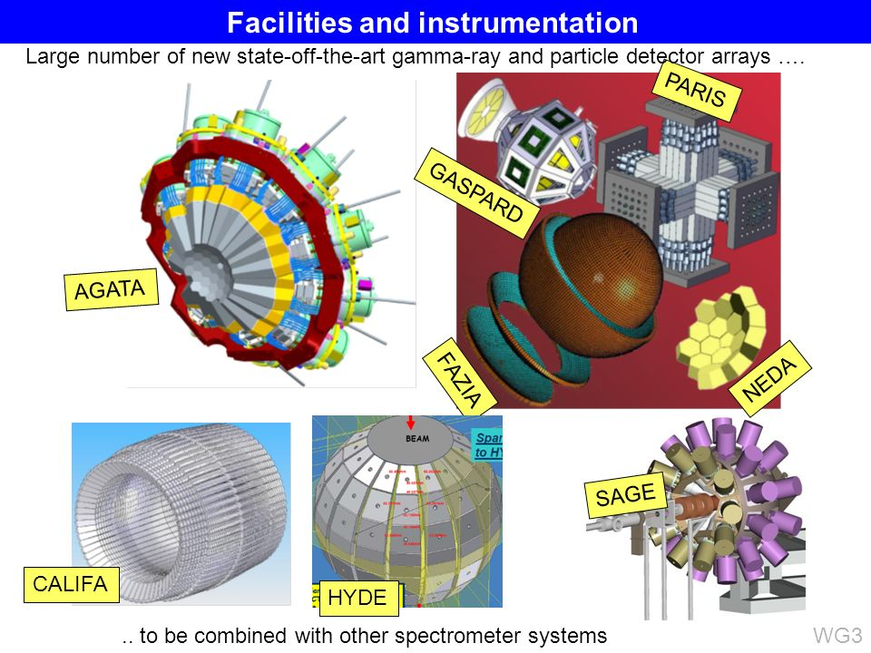 AGATA CALIFA SAGE GASPARD PARIS FAZIA NEDA HYDE Large number of new state-off-the-art gamma-ray and particle detector arrays …...