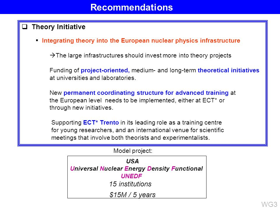 Theory Initiative Integrating theory into the European nuclear physics infrastructure The large infrastructures should invest more into theory project