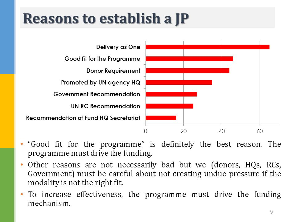 Good fit for the programme is definitely the best reason. The programme must drive the funding. Other reasons are not necessarily bad but we (donors,