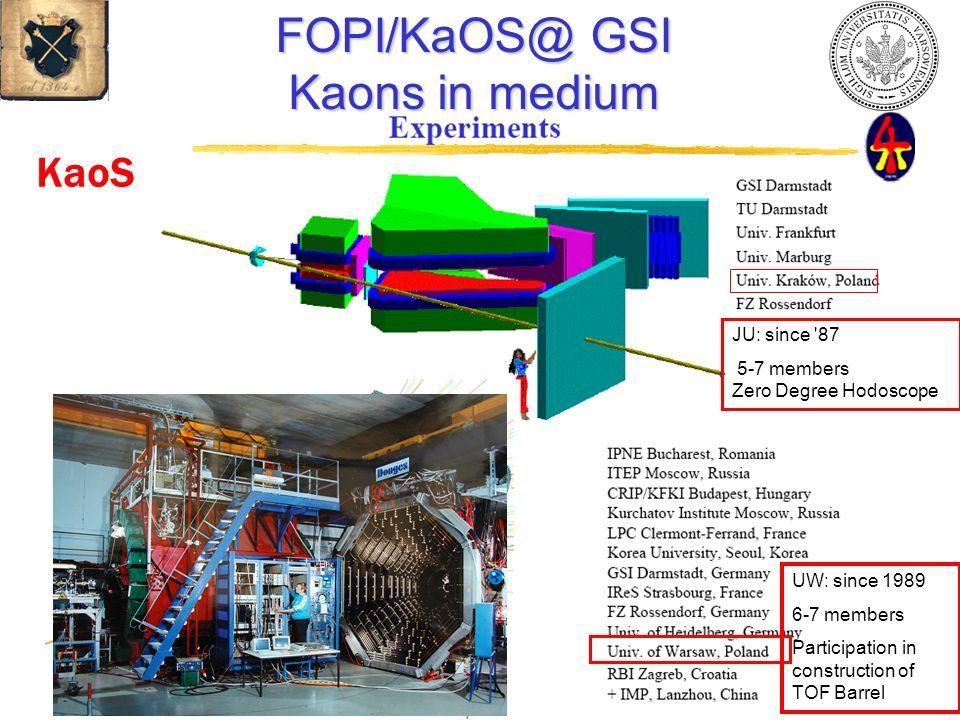 KaoS FOPI/KaOS@ GSI Kaons in medium JU: since '87 5-7 members Zero Degree Hodoscope UW: since 1989 6-7 members Participation in construction of TOF Ba