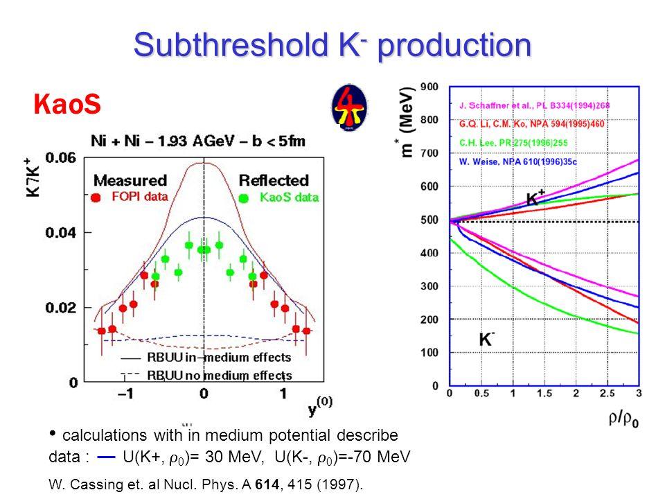 Subthreshold K - production KaoS calculations with in medium potential describe data : U(K+, 0 )= 30 MeV, U(K-, 0 )=-70 MeV W. Cassing et. al Nucl. Ph