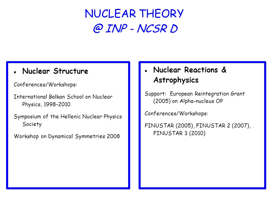 NUCLEAR INP - NCSR D Nuclear Structure Conferences/Workshops: International Balkan School on Nuclear Physics, Symposium of the Hellenic Nuclear Physics Society Workshop on Dynamical Symmetries 2008 Nuclear Reactions & Astrophysics Support: European Reintegration Grant (2005) on Alpha-nucleus OP Conferences/Workshops: FINUSTAR (2005), FINUSTAR 2 (2007), FINUSTAR 3 (2010)