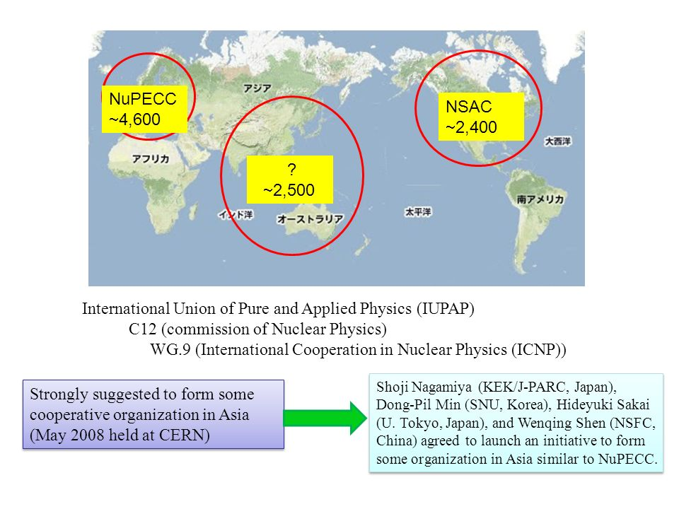 NuPECC 4,600 NSAC 2,400 ? 2,500 International Union of Pure and Applied Physics (IUPAP) C12 (commission of Nuclear Physics) WG.9 (International Cooper