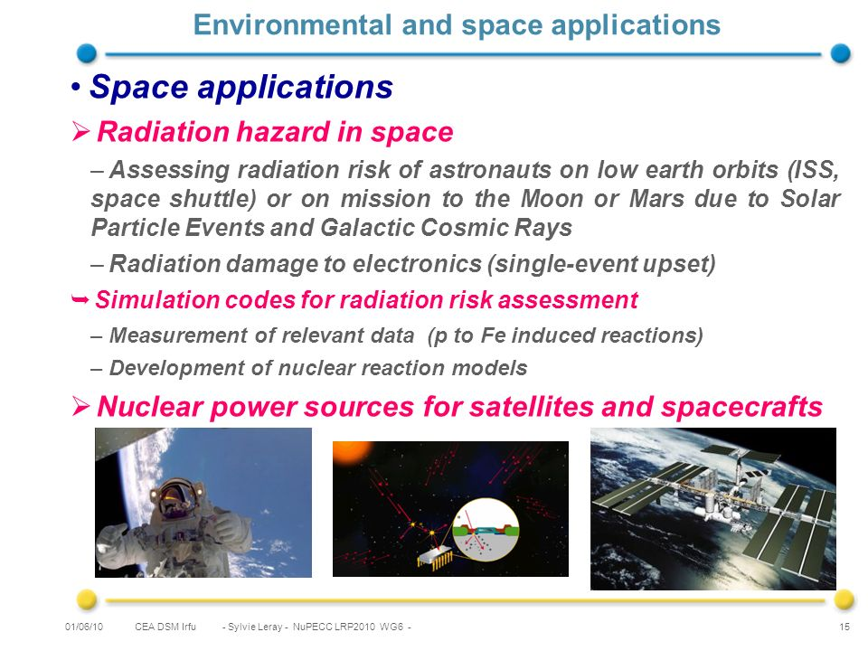 CEA DSM Irfu - Sylvie Leray - NuPECC LRP2010 WG6 - 15 Environmental and space applications Space applications Radiation hazard in space –Assessing radiation risk of astronauts on low earth orbits (ISS, space shuttle) or on mission to the Moon or Mars due to Solar Particle Events and Galactic Cosmic Rays –Radiation damage to electronics (single-event upset) Simulation codes for radiation risk assessment –Measurement of relevant data (p to Fe induced reactions) –Development of nuclear reaction models Nuclear power sources for satellites and spacecrafts 01/06/10
