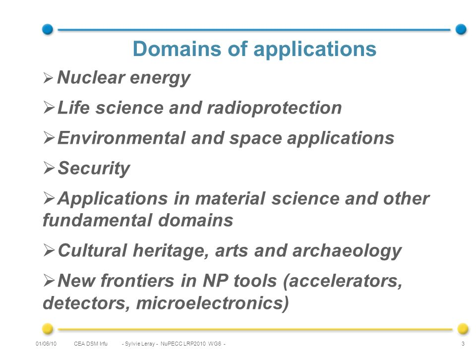 CEA DSM Irfu - Sylvie Leray - NuPECC LRP2010 WG6 - 3 Domains of applications Nuclear energy Life science and radioprotection Environmental and space applications Security Applications in material science and other fundamental domains Cultural heritage, arts and archaeology New frontiers in NP tools (accelerators, detectors, microelectronics) 01/06/10