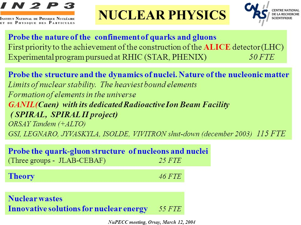 NuPECC meeting, Orsay, March 12, 2004 Probe the nature of the confinement of quarks and gluons First priority to the achievement of the construction of the ALICE detector (LHC) Experimental program pursued at RHIC (STAR, PHENIX)50 FTE Probe the quark-gluon structure of nucleons and nuclei (Three groups - JLAB-CEBAF)25 FTE Probe the structure and the dynamics of nuclei.