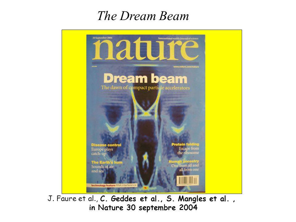 J. Faure et al., C. Geddes et al., S. Mangles et al., in Nature 30 septembre 2004 e-beam The Dream Beam