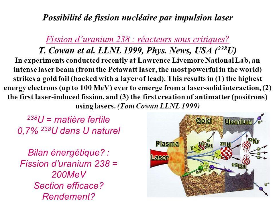 Possibilité de fission nucléaire par impulsion laser Fission duranium 238 : réacteurs sous critiques? T. Cowan et al. LLNL 1999, Phys. News, USA ( 238