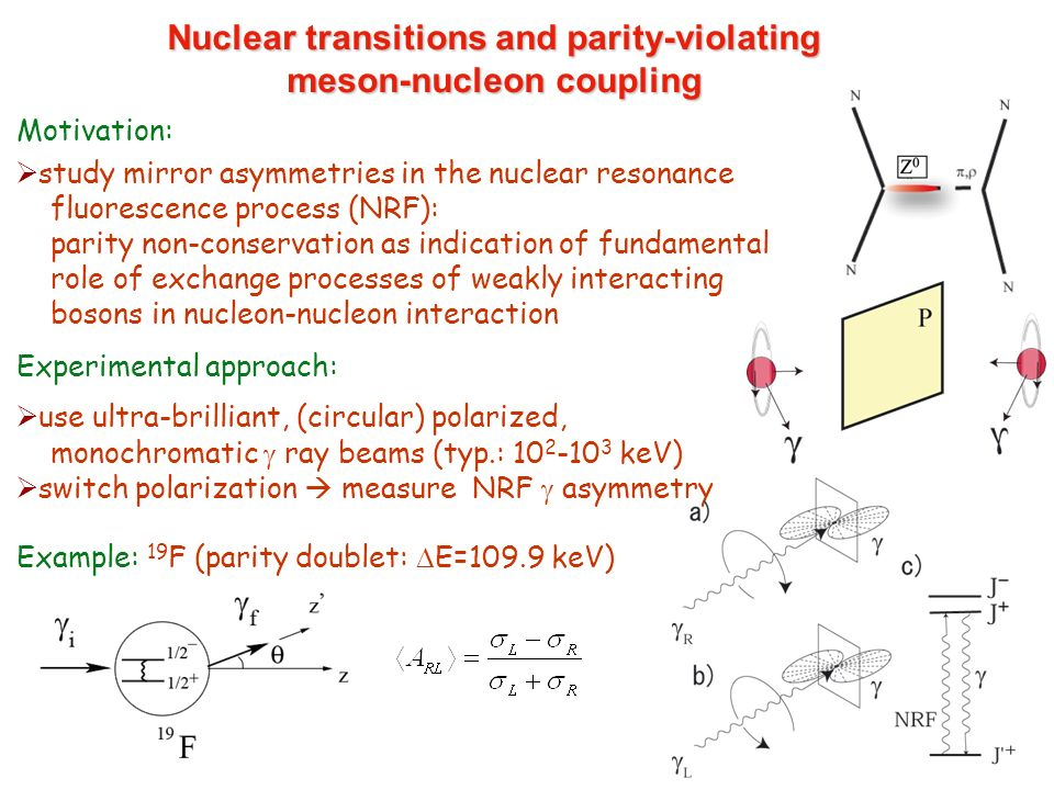 Nuclear transitions and parity-violating meson-nucleon coupling Motivation: study mirror asymmetries in the nuclear resonance fluorescence process (NR