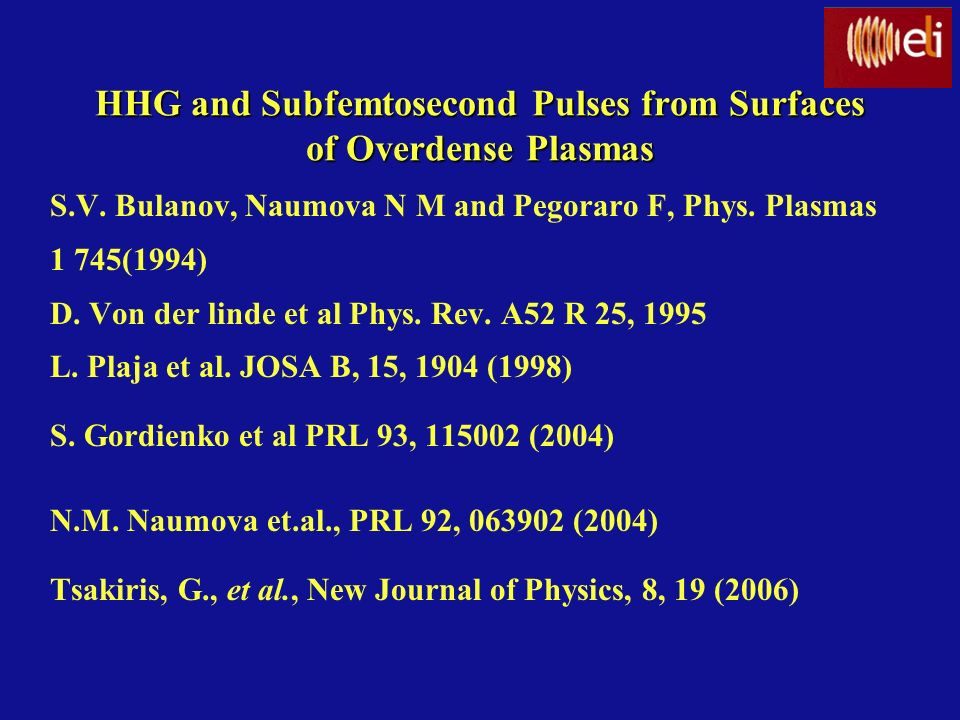 HHG and Subfemtosecond Pulses from Surfaces of Overdense Plasmas S.V. Bulanov, Naumova N M and Pegoraro F, Phys. Plasmas 1 745(1994) D. Von der linde