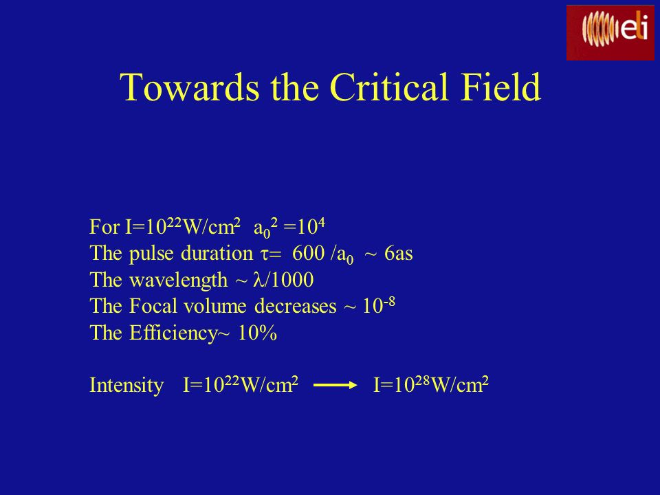 Towards the Critical Field For I=10 22 W/cm 2 a 0 2 =10 4 The pulse duration /a 0 ~ 6as The wavelength ~ The Focal volume decreases ~ 10 -8 The Effici