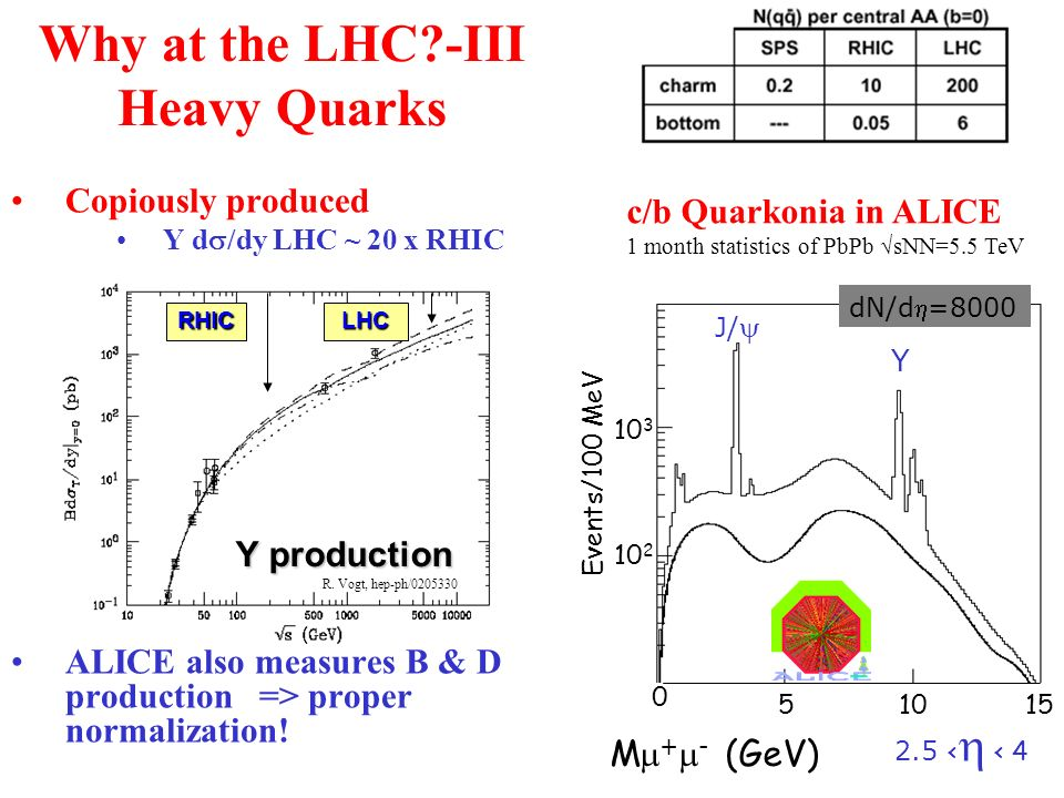 Why at the LHC -III Heavy Quarks Copiously produced Y d /dy LHC ~ 20 x RHIC ALICE also measures B & D production => proper normalization.