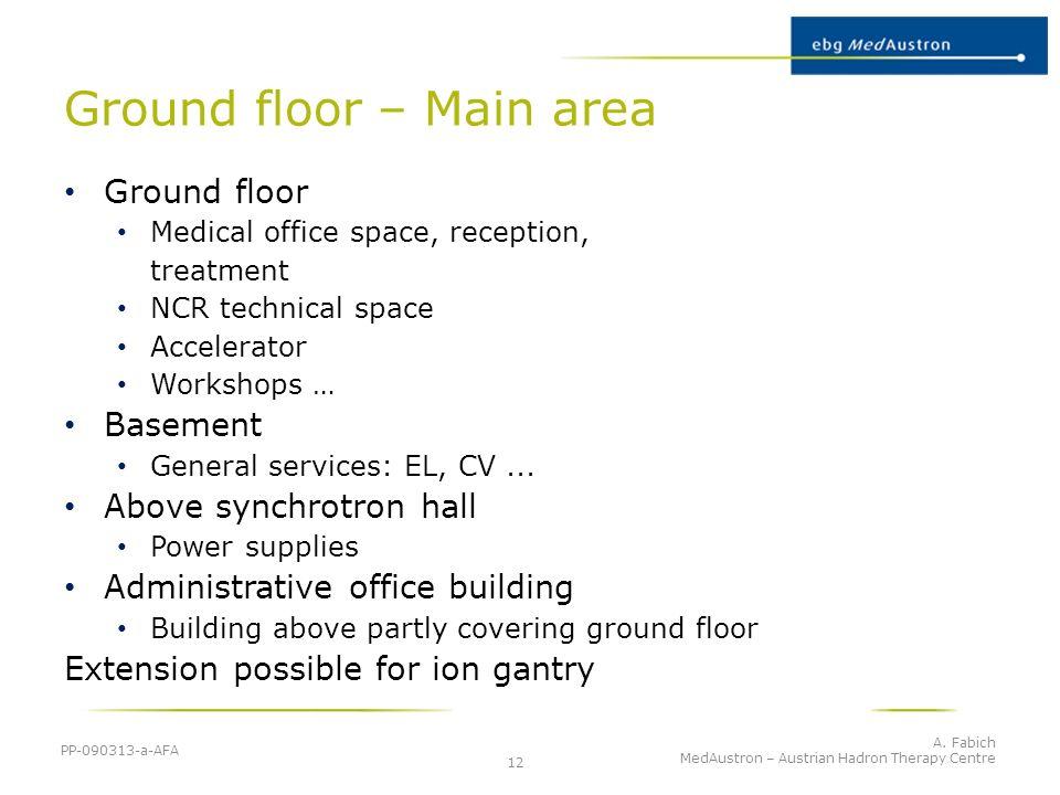 Ground floor – Main area PP-090313-a-AFA A. Fabich MedAustron – Austrian Hadron Therapy Centre 12 Ground floor Medical office space, reception, treatm