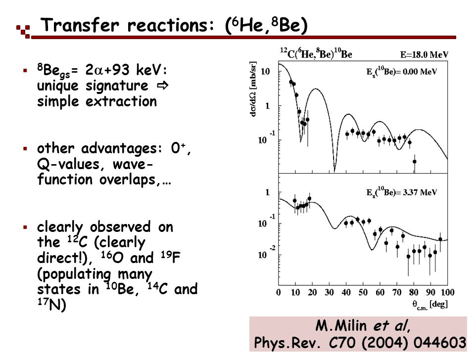 Transfer reactions: ( 6 He, 8 Be) 8 Be gs = 2 +93 keV: unique signature simple extraction other advantages: 0 +, Q-values, wave- function overlaps,… c